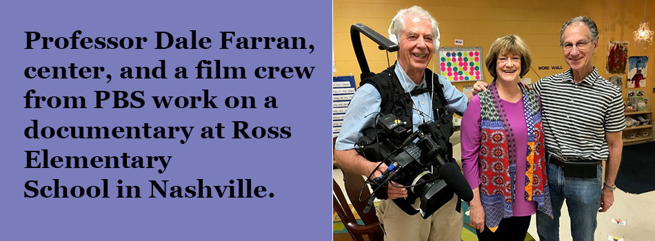 Professor Dale Farran, center, and a real crew from PBS work on a documentary at Ross Elementary