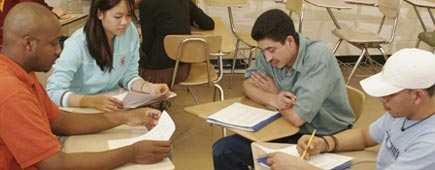 High school students work together in the classroom